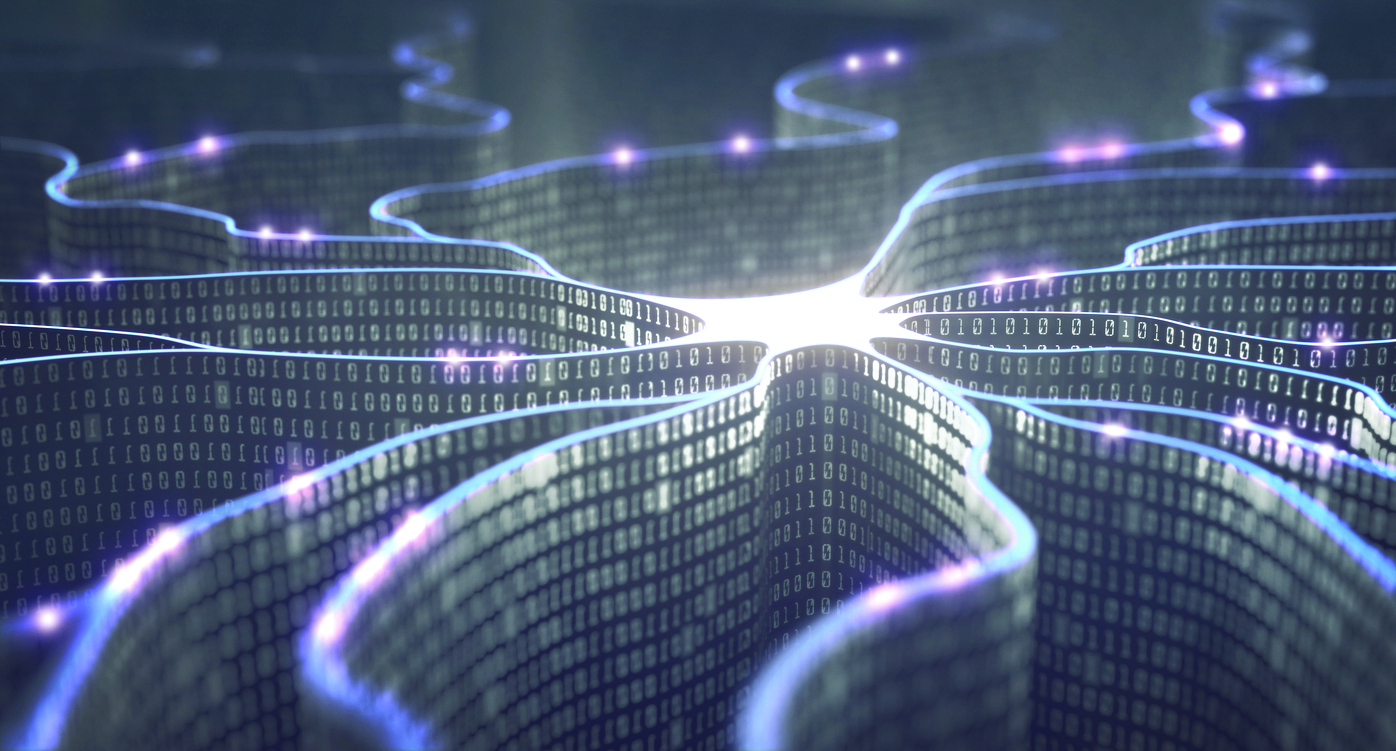 Concept illustration of an artificial neural network made up of binary code