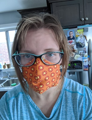 Family physician Dr. Carola Collins wearing a homemade fabric face mask