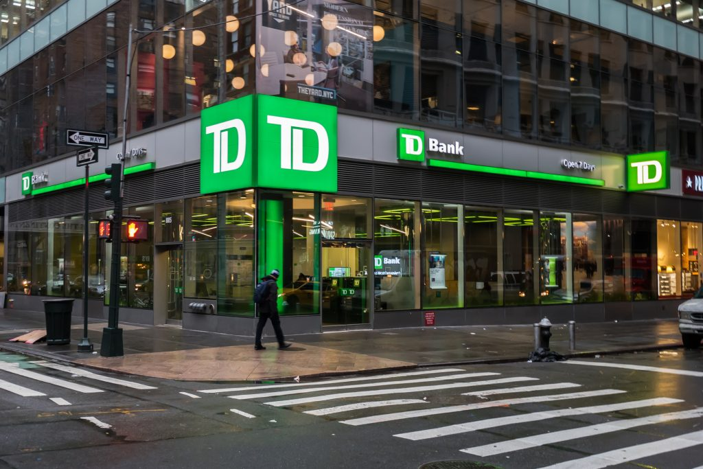 Exterior of TD Bank at an intersection