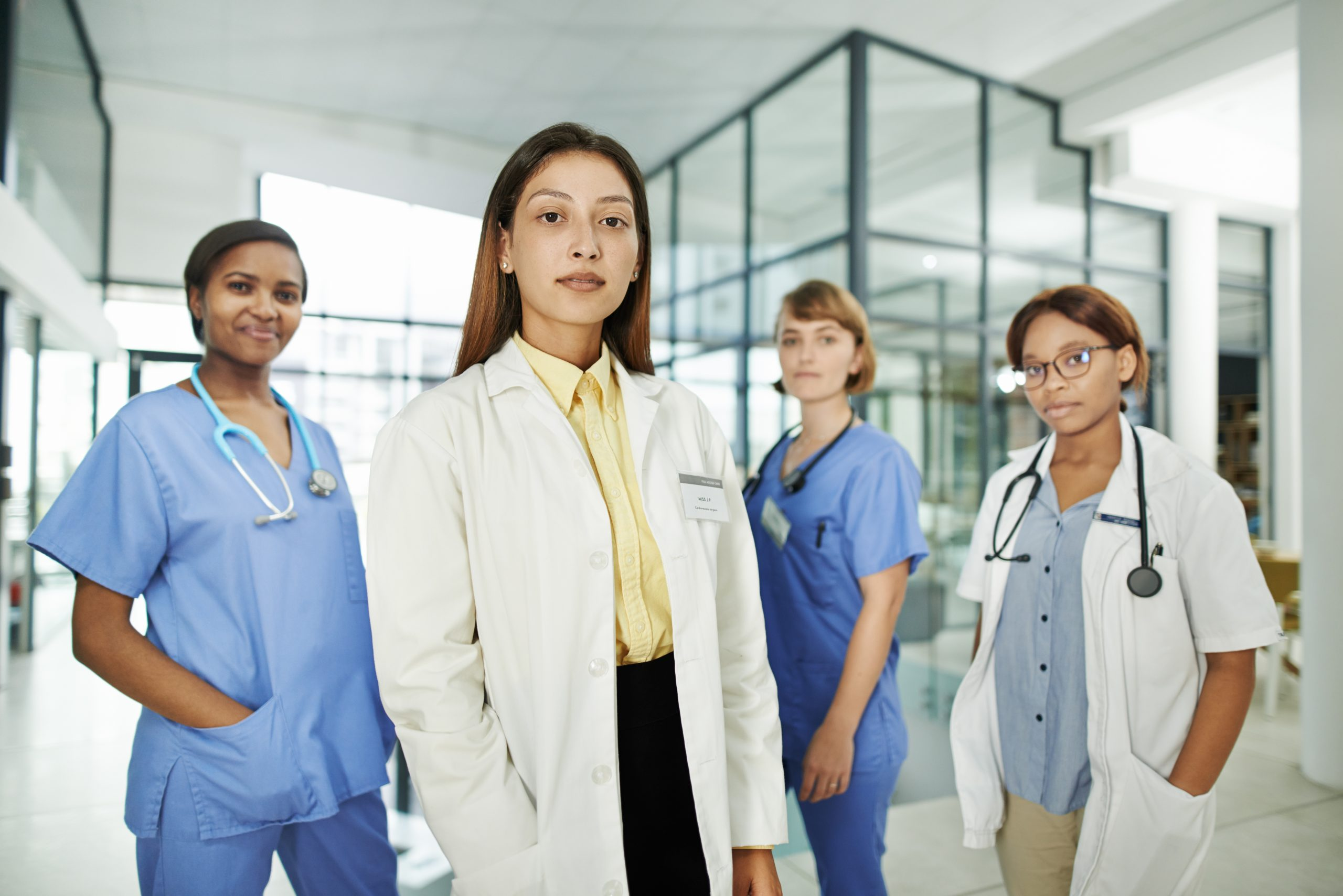 Multi-ethnic group of female health workers representing women in medicine