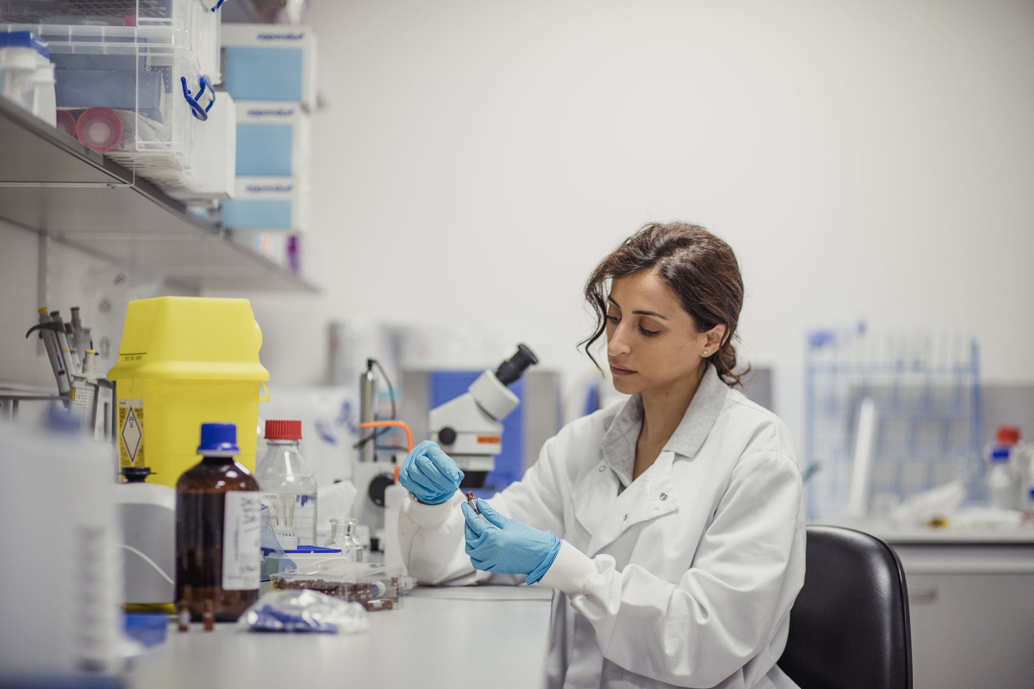 Young South Asian woman doing research in a lab