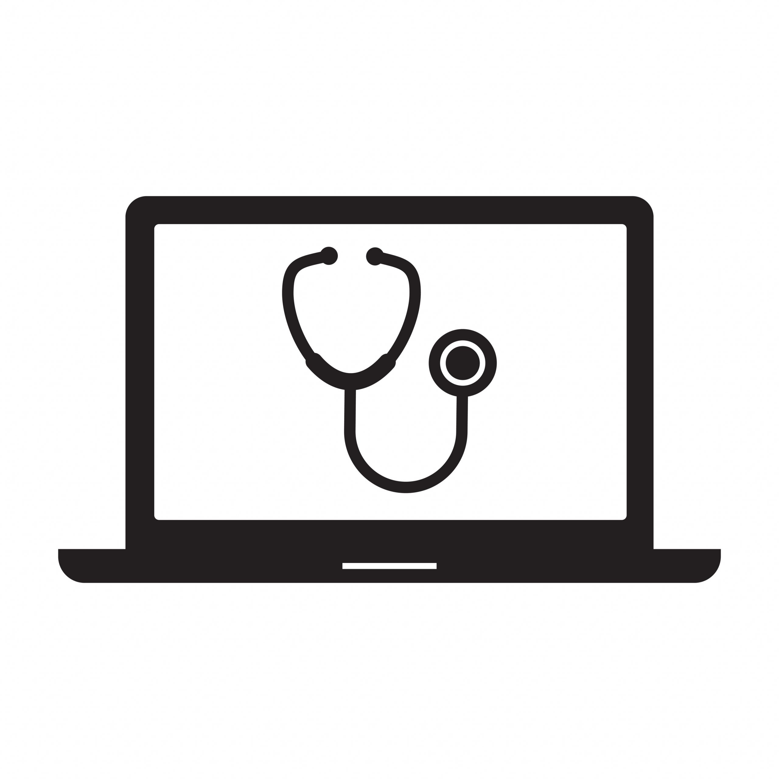 Illustration of a stethoscope on a laptop