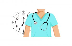 Illustration of a doctor standing in front of a clock