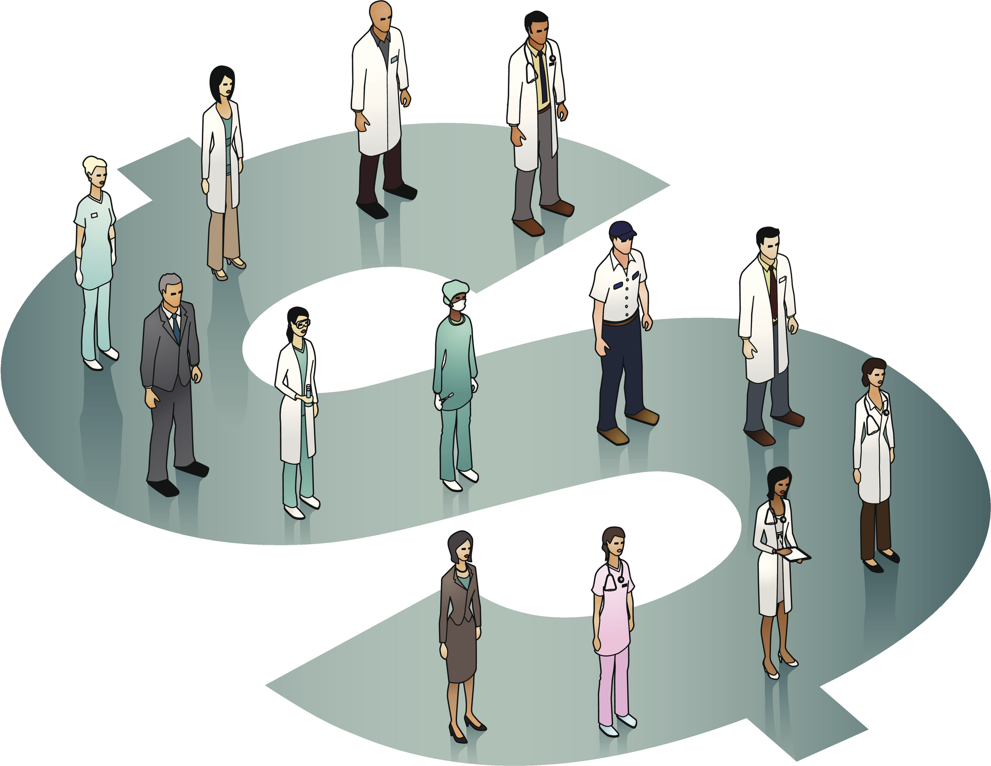 Illustration of healthcare workers standing on a dollar sign