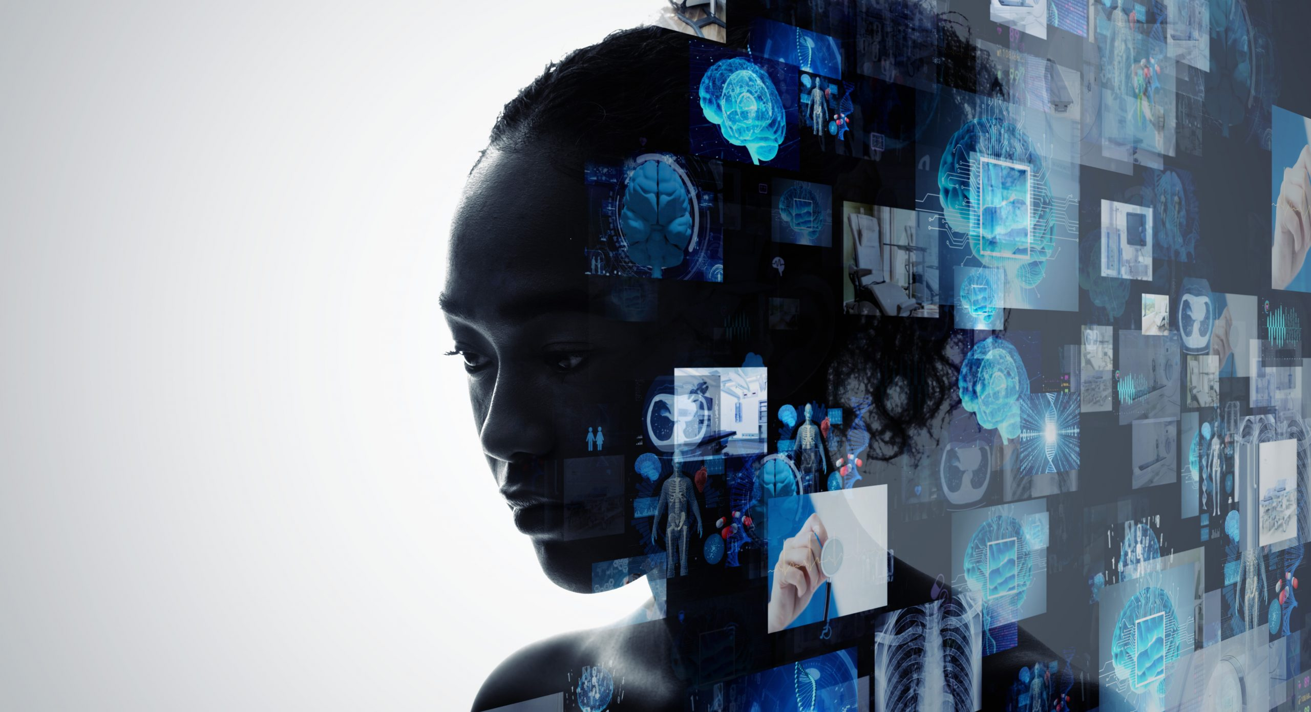Concept illustration of medical images superimposed over the silhouetted profile of a Black woman