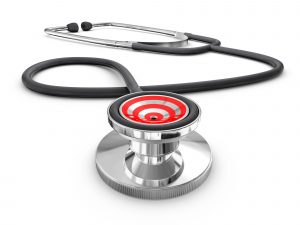 Closeup of a doctor's stethoscope with a bullseye on the diaphragm