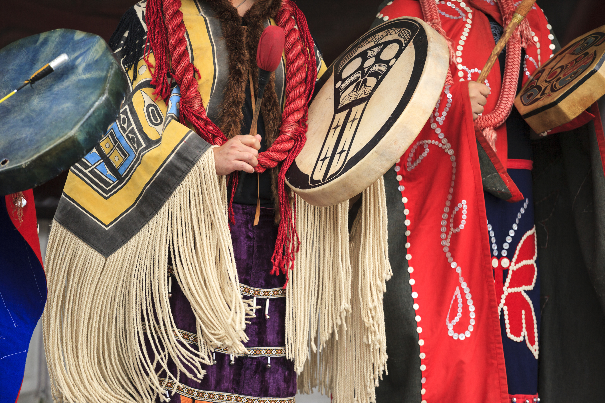 First Nations dancers performing with drums