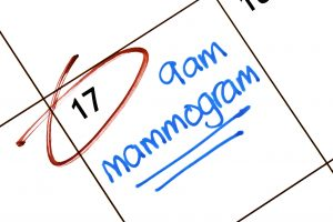 Close-up of a calendar entry for a mammogram appointment underlined for emphasis