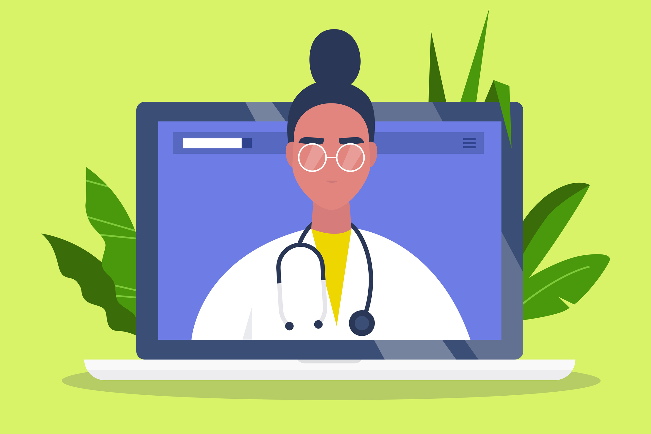 Illustration of female physician of colour on a laptop screen