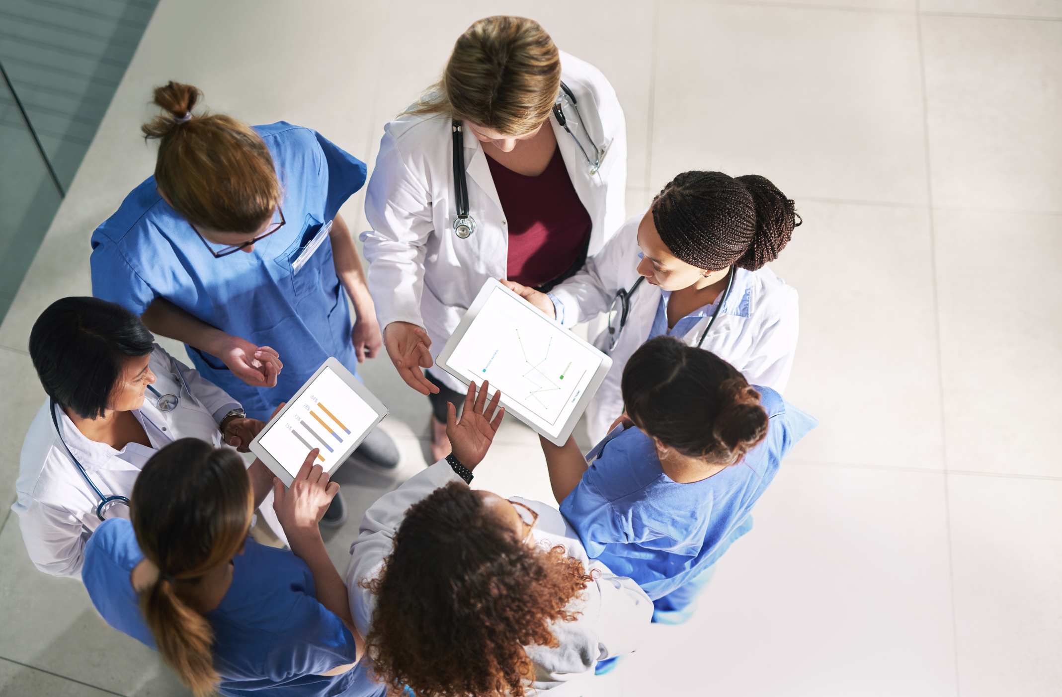 Overhead shot of a diverse group of healthcare workers
